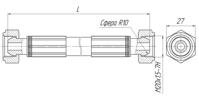 Вставка диэлектрическая в исполнении с шаровым ниппелем ВДТП-2